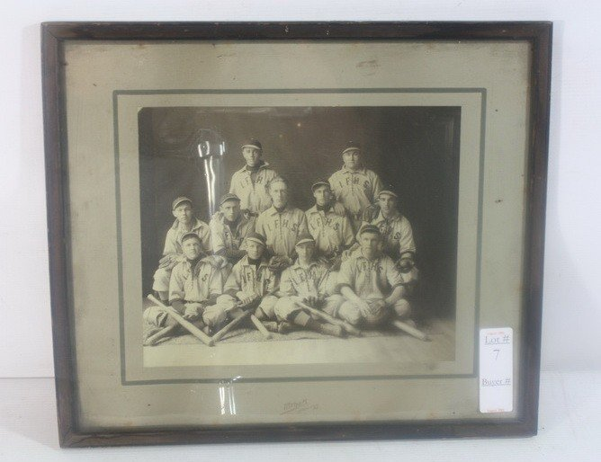 7: Island Falls High School Baseball Photo with old bat