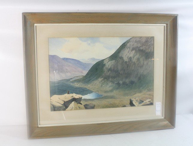 13: Watercolor depicting Chimney Pond Mt. Katadhin by L