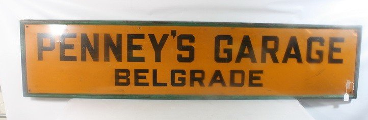 14: Penny's Garage Belgrade Maine Tin Sign 71x14