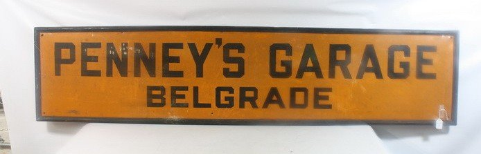 15: Penny's Garage Belgrade Maine Tin Sign 71x14