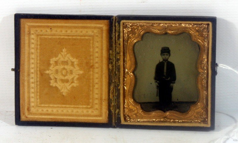 12: Fantastic Dag/Tintype in Hinged Case of Young Boy w