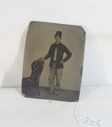 13A: 4x5 Tin Type of Civil War era soldier