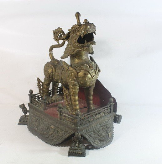 7: Asian Food dog statue on hammered brass base