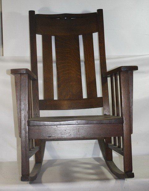 15: Mission oak rocker signed on bottom Phoenix Chair C