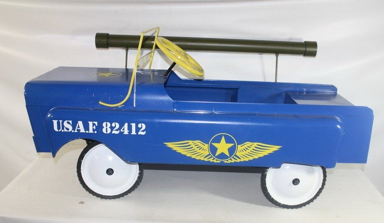 3: 1959 Garton Jeep Pedal car with Airforce Decals comp