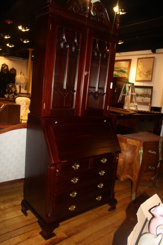 13A: Beautiful New Drop Front Secretary with Double Gla