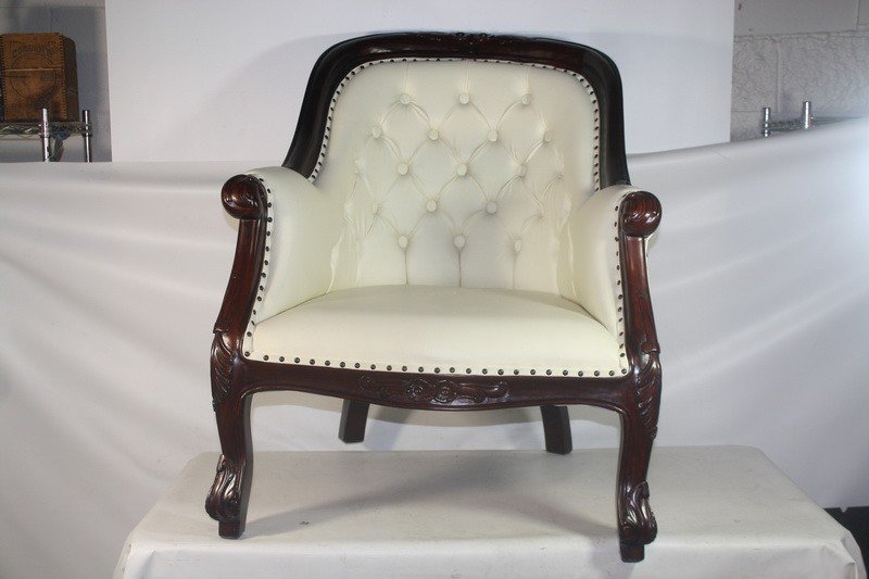 14A: Lounge Chair with Faux Leather Upholstery