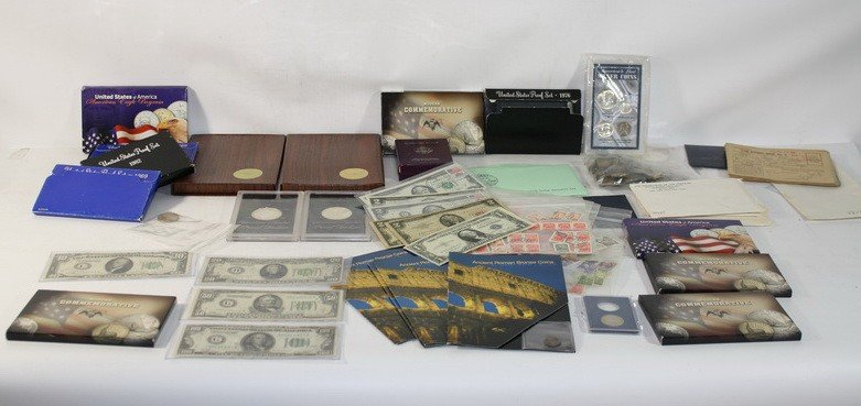 1: Lot of Paper Money and Coins including: 1928A $100,