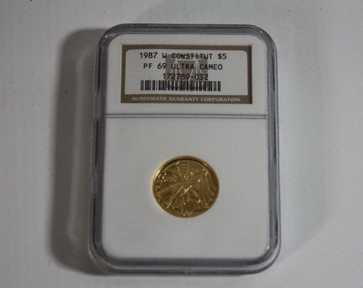 6A: 1987 Constitution $5 Gold Proof Coin Graded Proof 6