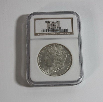 13A: 1882 Morgan Silver Dollar CC Graded MS 63