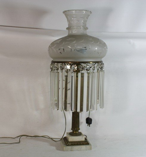 "6: Iron and Marble Glass lamp 38""inches high decorated"