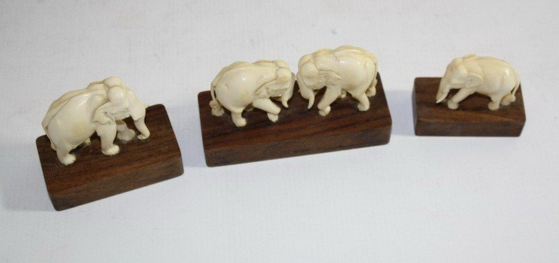 15A: Group of 3 carved ivory elephants on wooden bases