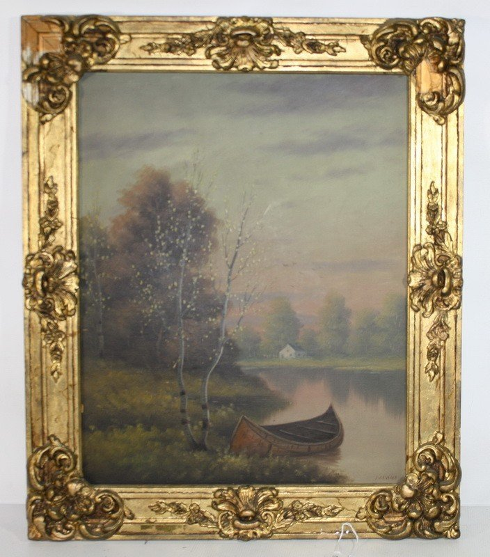 3: OOB by DA Fisher Depicting pond and canoe