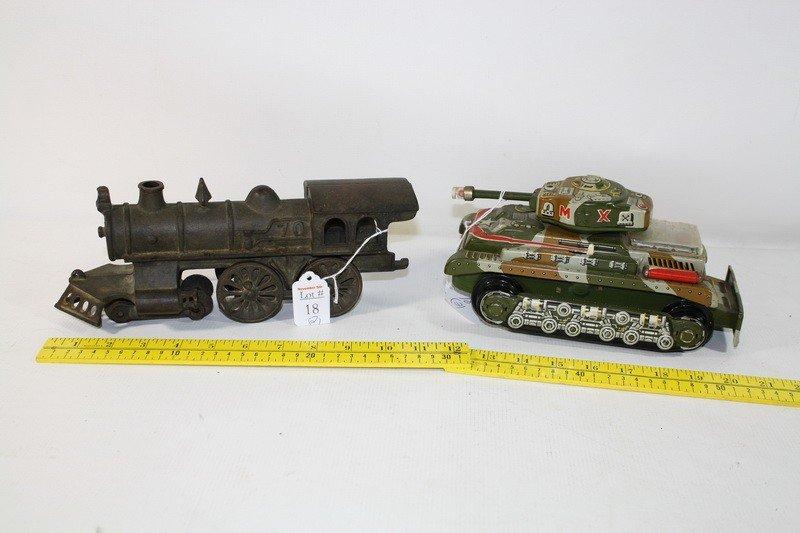 "18: Cast iron train engine 12"" and Tin Litho Tank 2 pc."