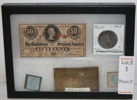 1: Lot with early stamps, 1861-O Half Dollar, CSA Belt
