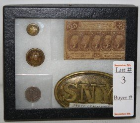 3: Lot with US Post Office Note, Military buttons and b
