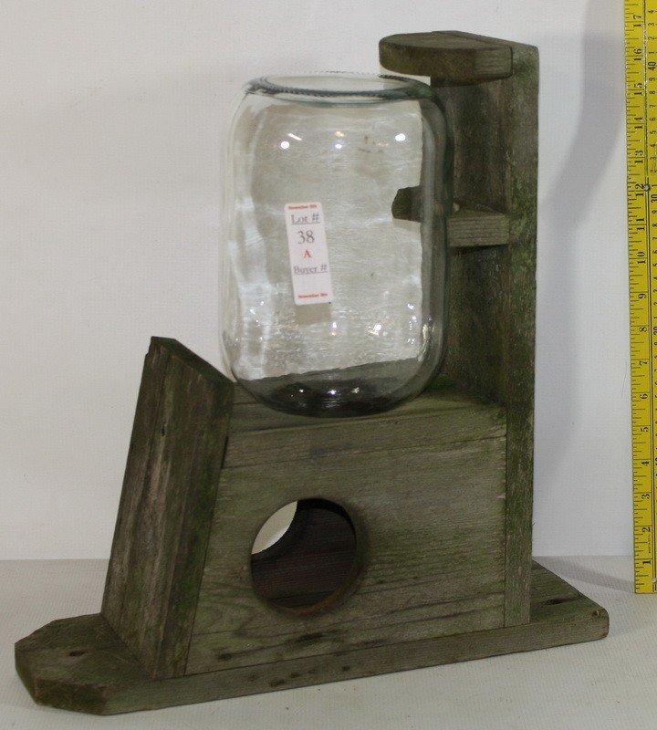 38A: Wooden Squirrel feeder with glass jar