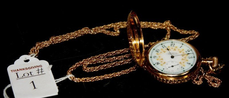 1: 14Kt. Gold Pocket watch in hunters case with 14 Kt.