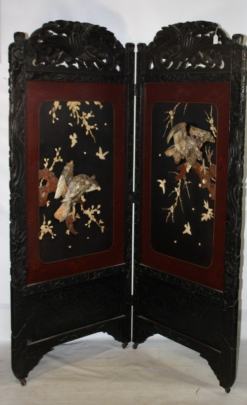 2: Asian carved and inlaid privacy screen