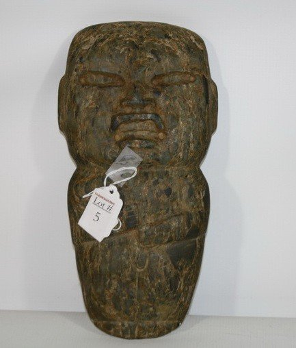 "5: 11"" long Carved Artifact piece of stone of man, inte"
