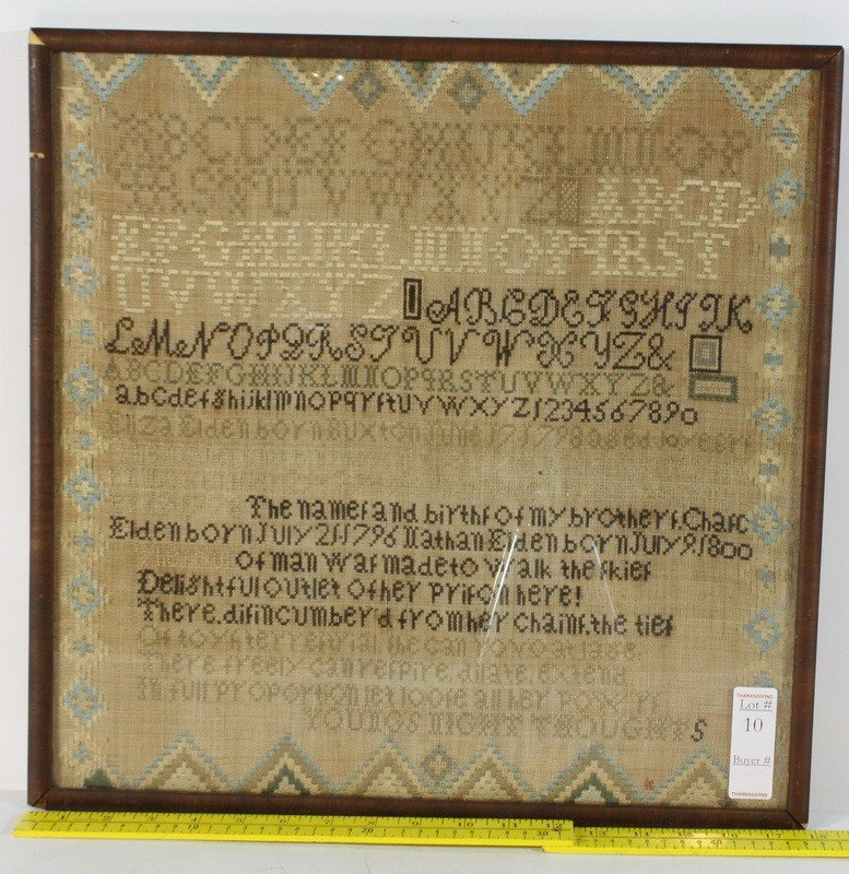 10: Needlepoint Sampler Buxton Maine Circa 1800 describ