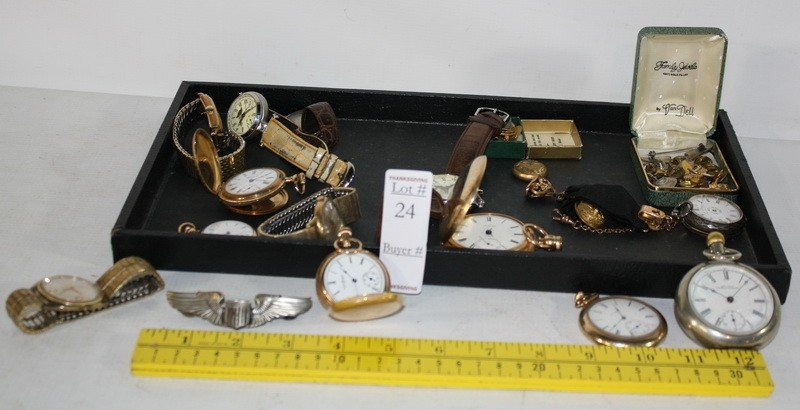 24: Lot of pocket watches, wrist watches and jewelry