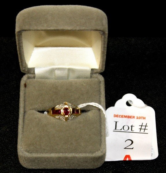2A: 14Kt. Gold Ruby and Diamond Ring