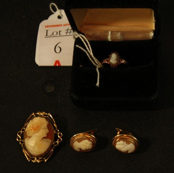 6A: 10 kt. Cameo Jewelry Lot