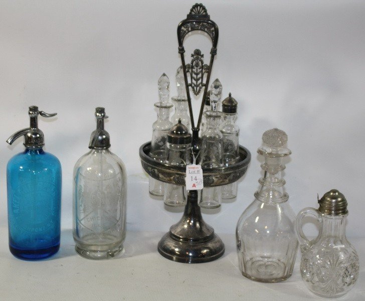 14A: Victorian Cruet set with Syrup server and two selt