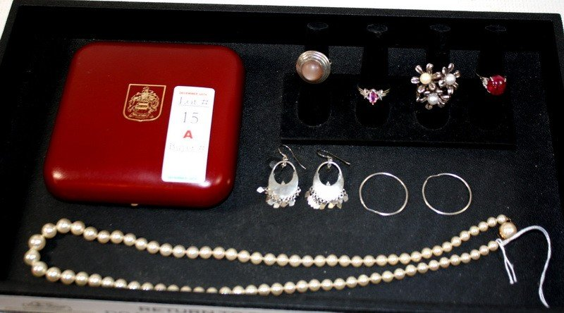 15A: Jewelry Lot with pearls,sterling rings, and earrin