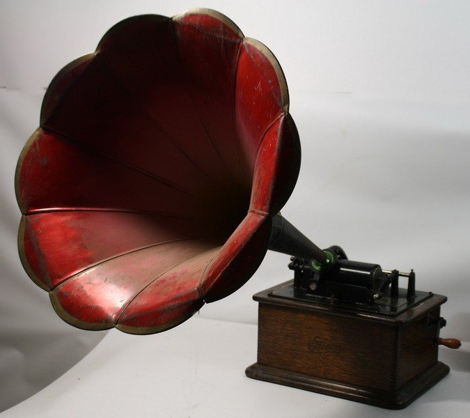 """1: Edison Victrola with horn in working condition 18"""" - 3"""