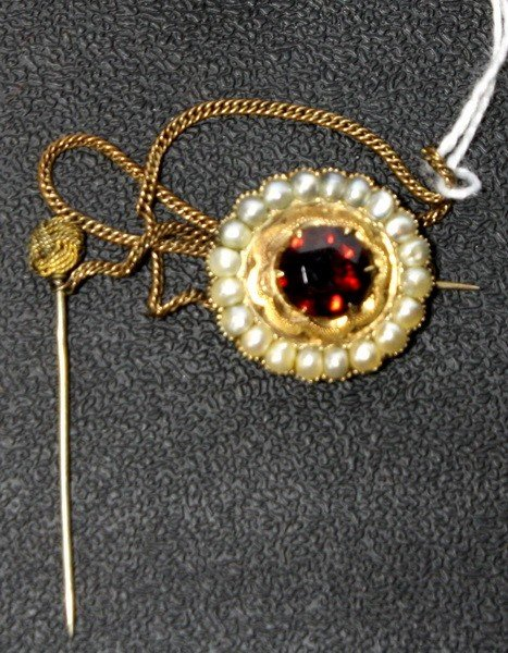 4: Gold with Garnet and seed pearls pin dated 1854