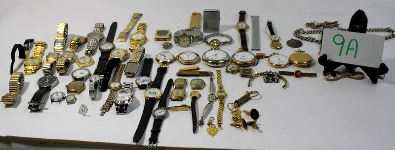 9A: Large lot of pocket watches, wrist watches and more
