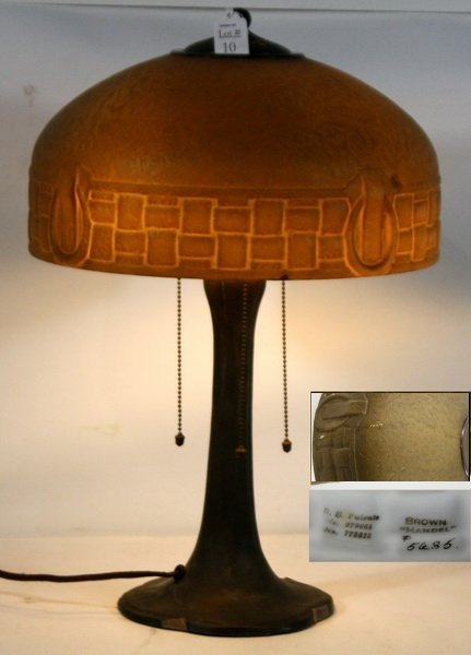 "10: 22"" Handel Lamp Base signed with brown Handel Shade"