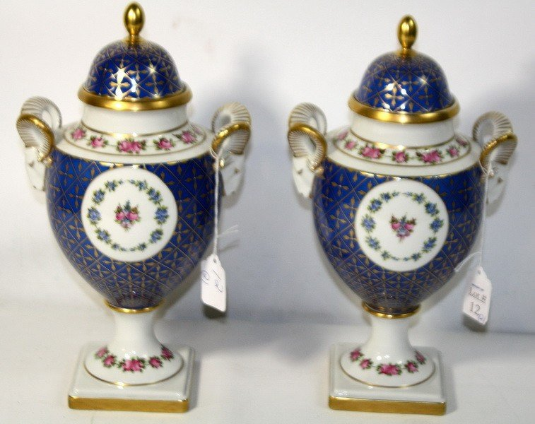 """12: Pair of 13"""" Ajka Hand Painted Covered Urns marked 1"""