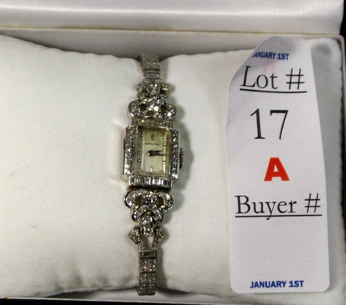 17A: Vintage Platinum and Diamond Hamilton Ladies watch