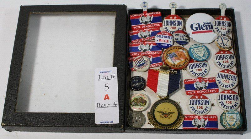 5A: Box of political buttons