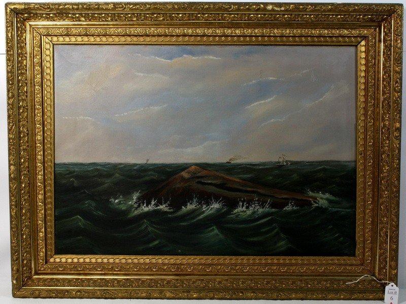 6A: OOC Seascape 26x18 in ornate gold frame