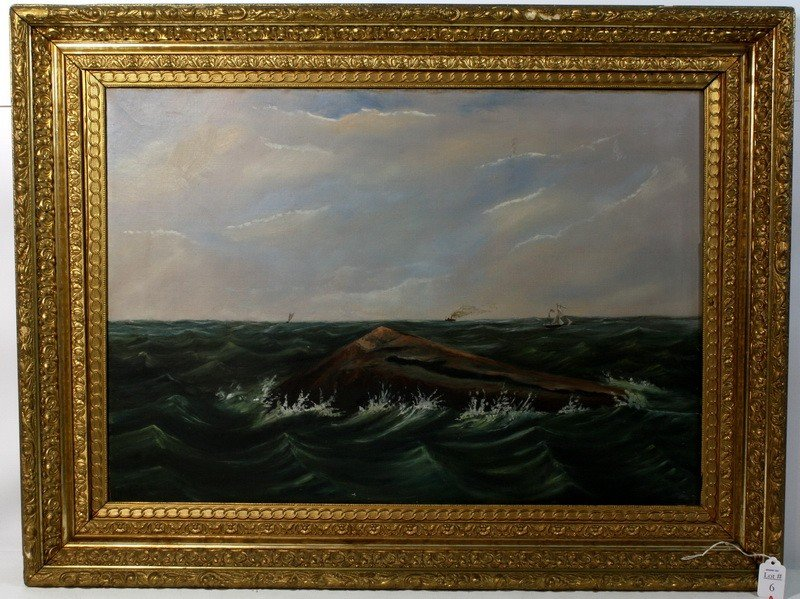 6A: OOC Seascape 26x18 in ornate gold frame