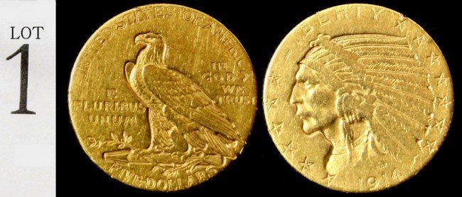 1: 1914 $5 Gold Indian Coin