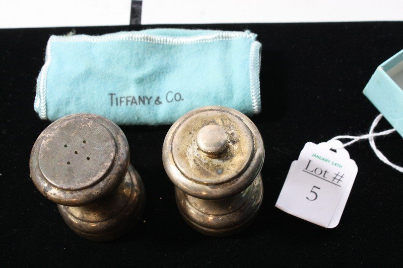5: Pair of Tiffany Sterling shakers in box