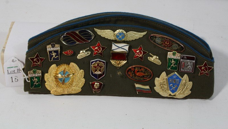 18: Soviet Hat with pins and patches