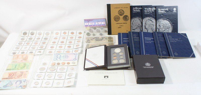 37: Coin lot with books and notes