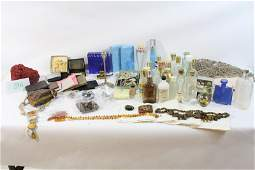 59A 2 Boxes of misc items perfume bottles coral and