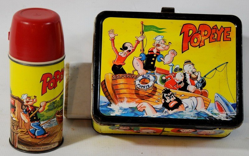 3: 1964 King Seeley Thermos Co. Popeye Lunch Box with T