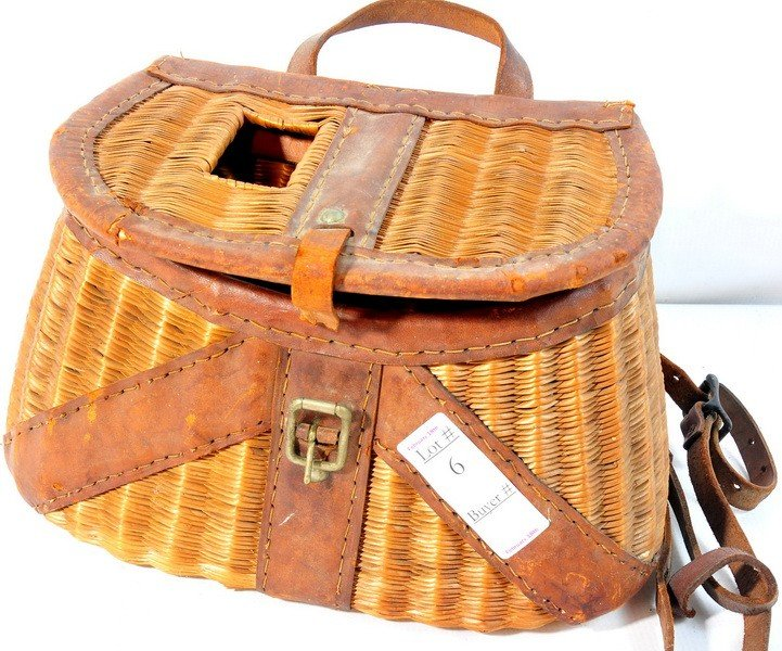 6: One fishing creel with leather straps
