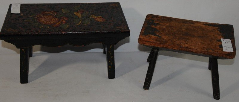 11: Two footstools one Windsor one decorated