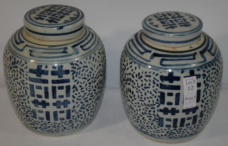 12: Pair of covered Chinese Ginger Jars