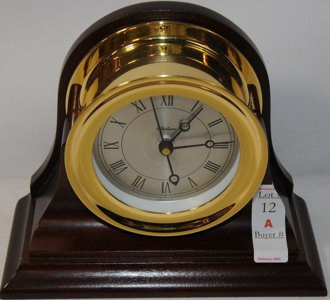 "12A: 5"" Chelsea Brass Clock encased in Mahogany"