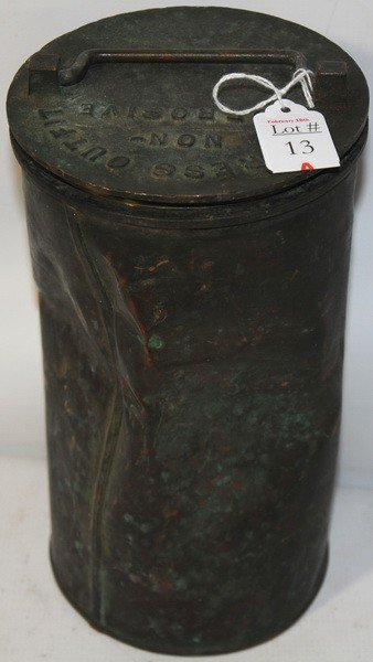 13A: Early 1800s Copper Ships Distress Flare Canister